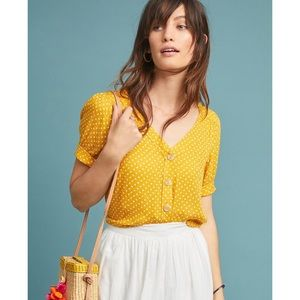 Anthropologie Maeve Yellow Hansley Blouse Size 6